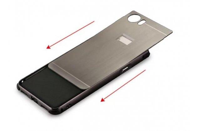 Металлическая задняя панель-крышка-накладка из тончайшего облегченного авиационного алюминия для blackberry keyone/ dtek70 черная
