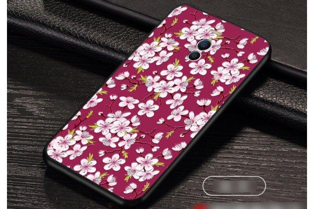 """Роскошная задняя панель-чехол-накладка  из мягкого силикона с безумно красивым расписным 3d рисунком на meizu m6 (m711q) """"тематика цветок вишни"""""""