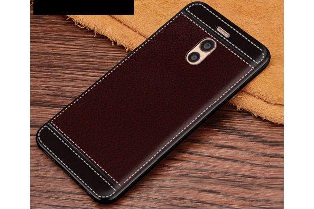Премиальная элитная крышка-накладка на meizu m6 (m711q) коричневая из качественного силикона с дизайном под кожу