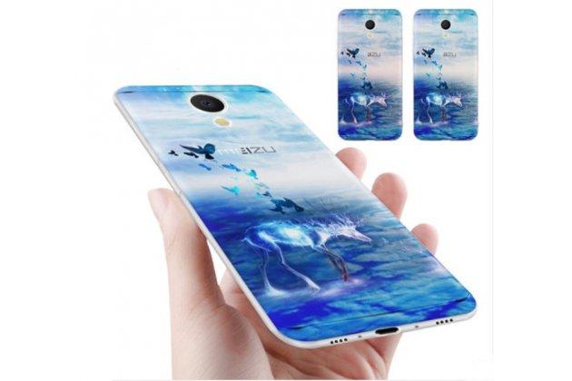 """Роскошная задняя панель-чехол-накладка  из мягкого силикона с безумно красивым расписным 3d рисунком на meizu m6 (m711q) """"тематика ледяной олень"""" синяя"""