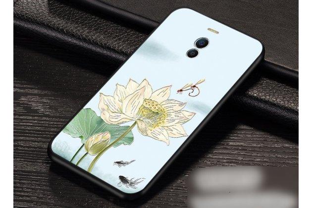 """Роскошная задняя панель-чехол-накладка  из мягкого силикона с безумно красивым расписным 3d рисунком на meizu m6 (m711q) """"тематика цветок лотоса"""""""