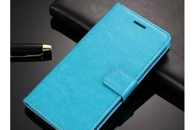 Чехол-книжка из качественной импортной кожи с подставкой застёжкой и визитницей для meizu m6 (m711q) голубой