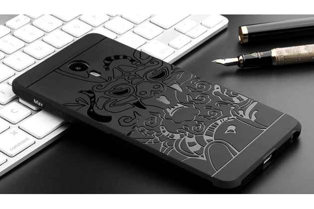 """Роскошная задняя панель-чехол-накладка  из мягкого силикона с безумно красивым расписным 3d рисунком на meizu m6 (m711q) """"тематика дракон"""" черная"""