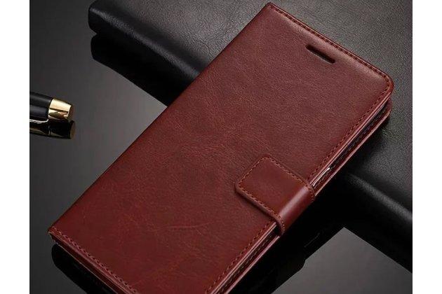 Чехол-книжка из качественной импортной кожи с подставкой застёжкой и визитницей для meizu m6 (m711q) коричневый