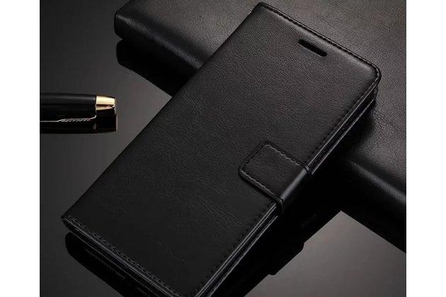 Чехол-книжка из качественной импортной кожи с подставкой застёжкой и визитницей для meizu m6 (m711q) черный