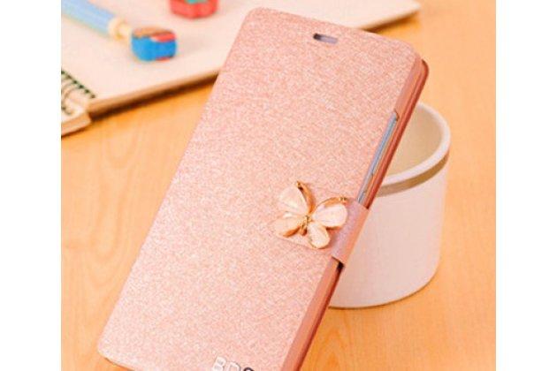 Роскошный чехол-книжка безумно красивый декорированный бусинками и кристаликами на meizu m6 (m711q) шампань золотой