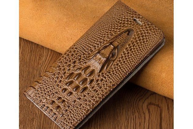 Роскошный эксклюзивный чехол с объёмным 3d изображением кожи крокодила коричневый для oneplus 6 . только в нашем магазине. количество ограничено
