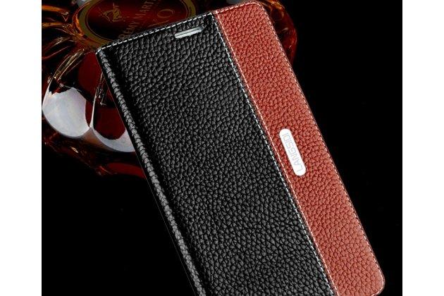 Премиальный чехол-книжка из качественной импортной кожи с мульти-подставкой и визитницей для oneplus 6  черно-коричневый