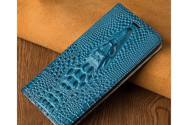 Роскошный эксклюзивный чехол с объёмным 3d изображением кожи крокодила синий для oneplus 6. только в нашем магазине. количество ограничено