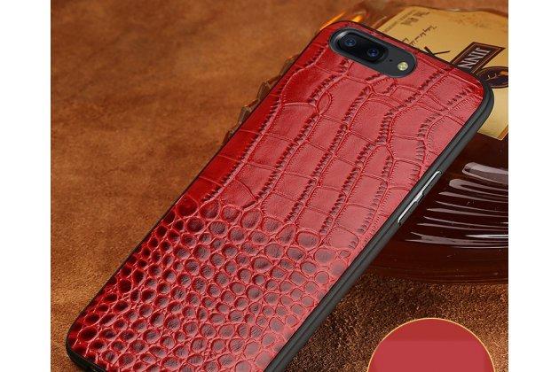 Элегантная задняя панель-крышка с фактурной отделкой натуральной кожи крокодила красного цвета для oneplus 6. только в нашем магазине. количество ограничено.