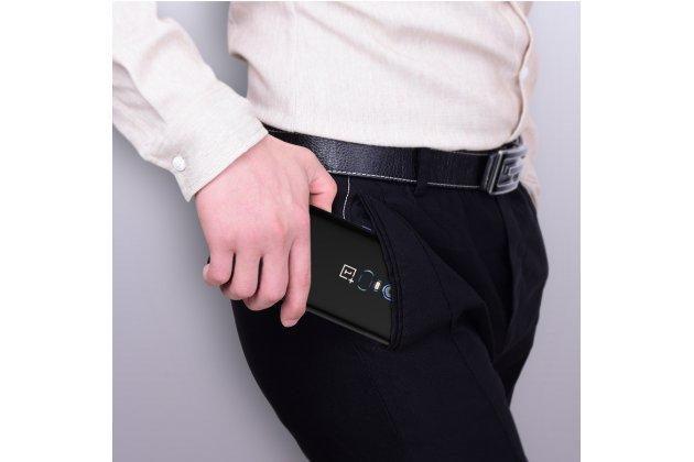 Задняя панель-чехол-накладка с защитными заглушками с защитой боковых кнопок для oneplus 6 прозрачная синяя