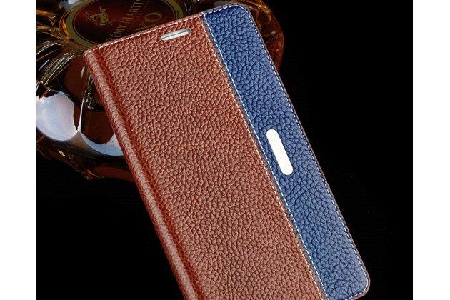 Премиальный чехол-книжка из качественной импортной кожи с мульти-подставкой и визитницей для oneplus 6  коричнево-синий