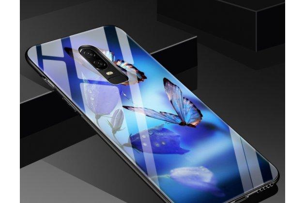 """Ультра-тонкий силиконовый чехол-бампер для oneplus 6 с закаленным стеклом на заднюю крышку телефона """"тематика радужные бабочки"""""""