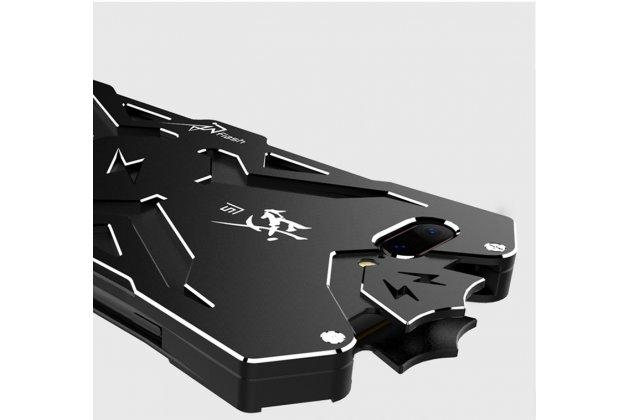 Противоударный металлический чехол-бампер из цельного куска металла с усиленной защитой углов и необычным экстремальным дизайном  для  oneplus 6 черного цвета