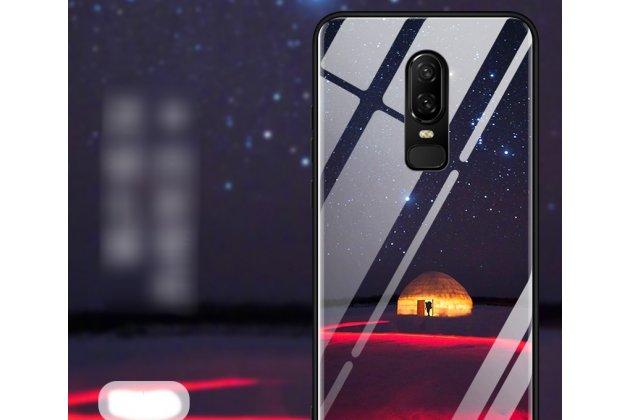 """Ультра-тонкий силиконовый чехол-бампер для oneplus 6 с закаленным стеклом на заднюю крышку телефона """"тематика полярная ночь"""""""