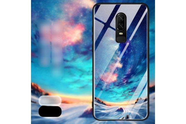 """Ультра-тонкий силиконовый чехол-бампер для oneplus 6 с закаленным стеклом на заднюю крышку телефона """"тематика звездная река"""""""
