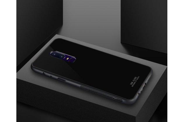 Ультра-тонкий силиконовый чехол-бампер для oneplus 6 с закаленным стеклом на заднюю крышку телефона черный