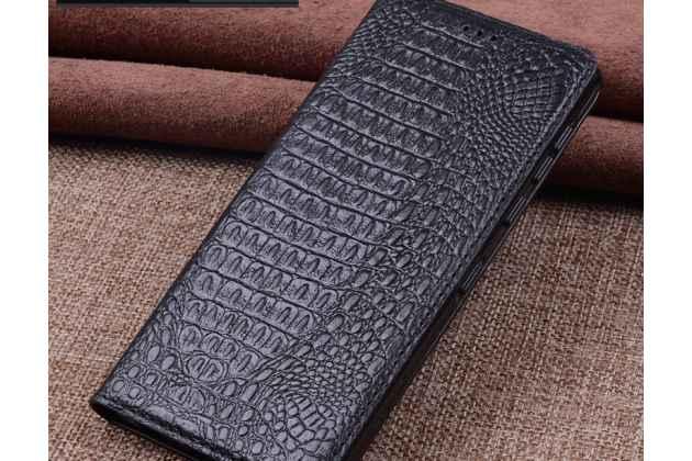 Роскошный эксклюзивный чехол с фактурной прошивкой рельефа кожи крокодила черный для blackberry motion. только в нашем магазине. количество ограничено