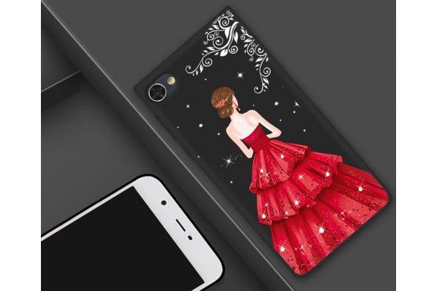 """Роскошная задняя панель-чехол-накладка  из мягкого силикона с безумно красивым расписным 3d рисунком на blackberry motion """"тематика красное платье"""""""