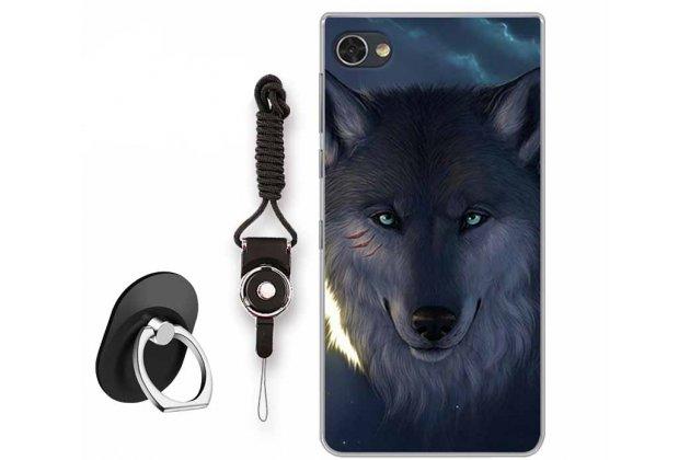 """Роскошная задняя панель-чехол-накладка  из мягкого силикона с безумно красивым расписным 3d рисунком на blackberry motion """"тематика волк"""""""