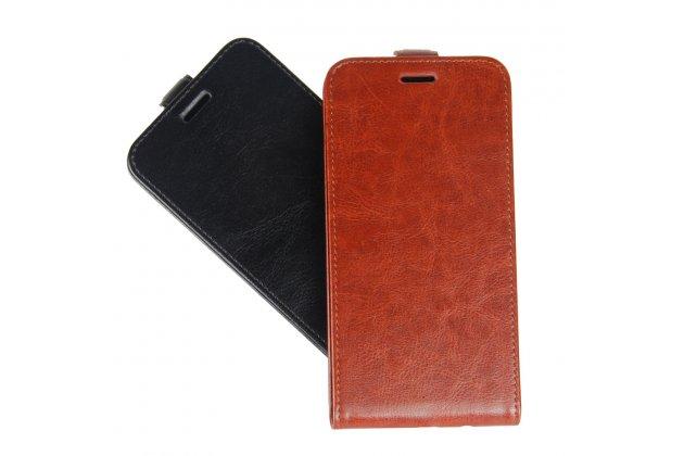 Вертикальный откидной чехол-флип для blackberry motion коричневый из натуральной кожи prestige