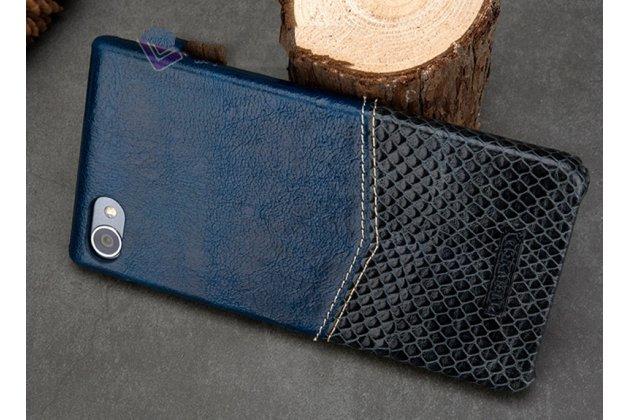 Роскошная элитная премиальная задняя панель-крышка для blackberry motion из качественной кожи буйвола с вставкой под кожу рептилии в синем цвете