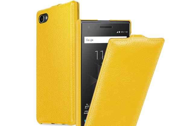 Вертикальный откидной чехол-флип для blackberry motion желтый из натуральной кожи prestige