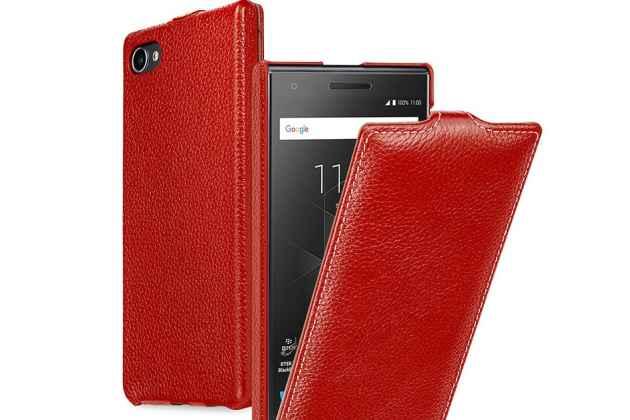 Вертикальный откидной чехол-флип для blackberry motion красный из натуральной кожи prestige