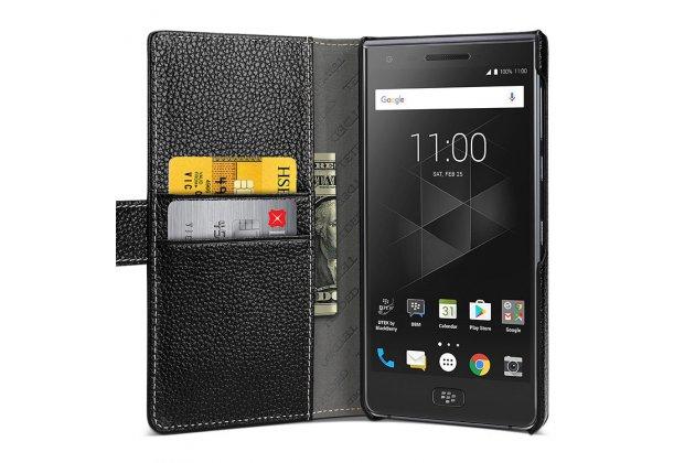 Чехол-книжка из качественной импортной кожи с подставкой застёжкой и визитницей для blackberry motion черный