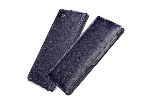 Вертикальный откидной чехол-флип для blackberry motion синий из натуральной кожи prestige