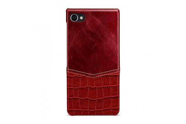 Роскошная элитная премиальная задняя панель-крышка для blackberry motion из качественной кожи буйвола с вставкой под кожу рептилии в красном цвете