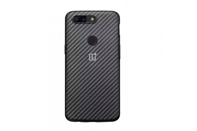 """Подлинная задняя панель-крышка с логотипом из тончайшего и прочного пластика для oneplus 5t с матовой отделкой """"под карбон"""" черная"""