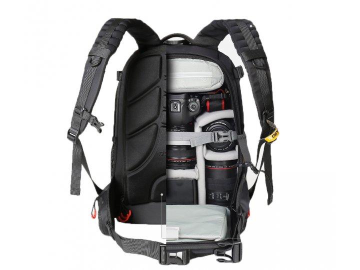Противоударный водонепроницаемый рюкзак-сумка вместительный для фотоаппарата в черном цвете с отделением для д..