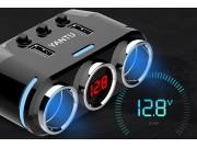 автомобильное зарядное устройство разветвитель прикуривателя 12v-24 на два гнезда + USB 3.0 с вольтметром