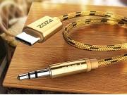 автомобильный аудио-кабель AUX jack 3.5 (m) - TYPE-C для подключения акустических систем 1м золотой