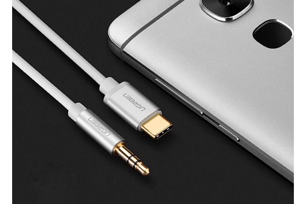 Аудио-кабель ugreen aux jack 3.5 (m) - type-c с микрофоном и переключателем песен