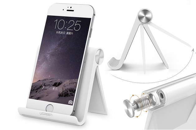 Универсальная настольная подставка ugreen для всех видов телефонов из прочного пластика белого цвета