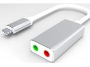 адаптер-переходник AUX кабель jack 3.5 (m) - Type-c для подключение наушника и микрофона к телефону и Apple MacBook серебристый