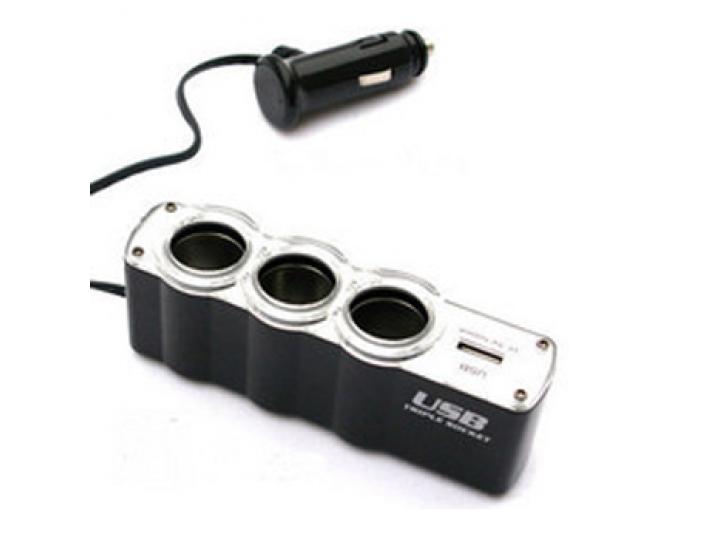 Автомобильное зарядное устройство разветвитель прикуривателя 24 / 12v на три гнезда + usb (500 ma)..
