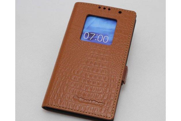 Чехол-книжка с логотипом для blackberry priv коричневый из кожи крокодила с окошком для входящих вызовов