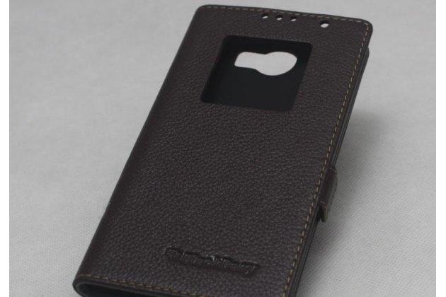 Чехол-книжка с логотипом из качественной импортной кожи для blackberry priv коричневый с окошком для входящих вызовов