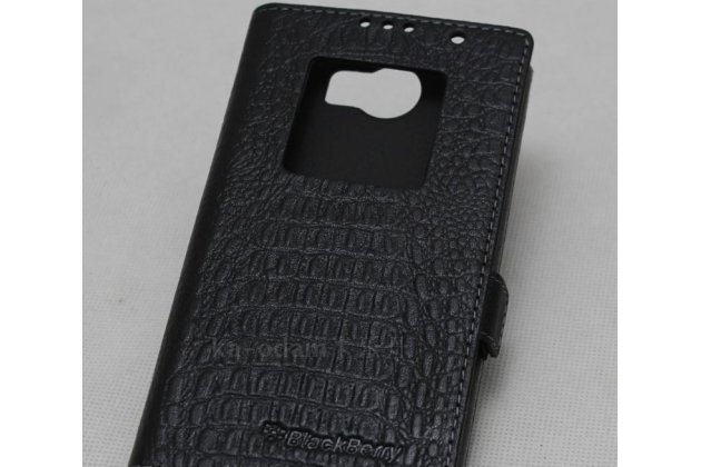 Чехол-книжка с логотипом для blackberry priv черный из кожи крокодила с окошком для входящих вызовов