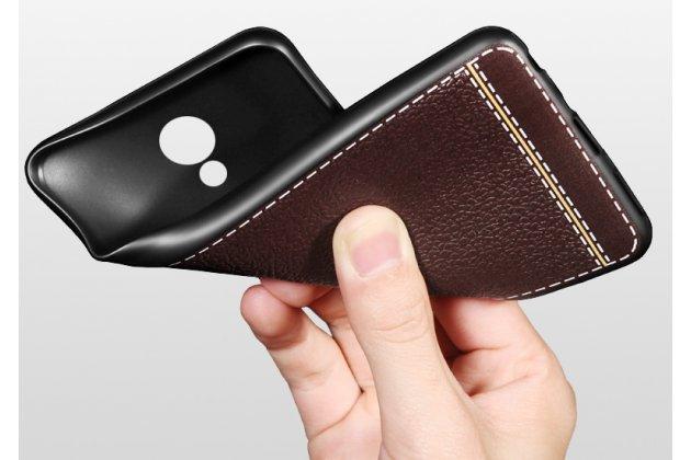 Премиальная элитная крышка-накладка на zte blade v8 (bv0800) коричневая из качественного силикона с дизайном под кожу