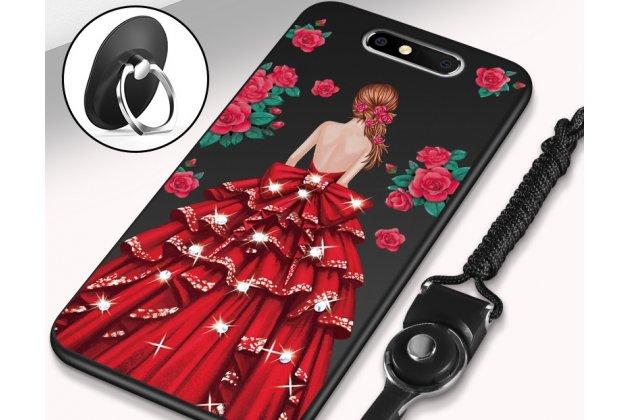 """Роскошная задняя панель-чехол-накладка  из мягкого силикона с безумно красивым расписным 3d рисунком на zte blade v8 (bv0800) """"тематика красное платье"""""""