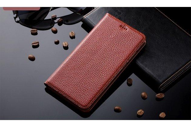Премиальный чехол-книжка из качественной импортной кожи с мульти-подставкой и визитницей для zte blade v8 (bv0800)  коричневый