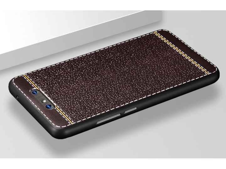 Премиальная элитная крышка-накладка на zte blade v8 (bv0800) коричневая из качественного силикона с дизайном п..