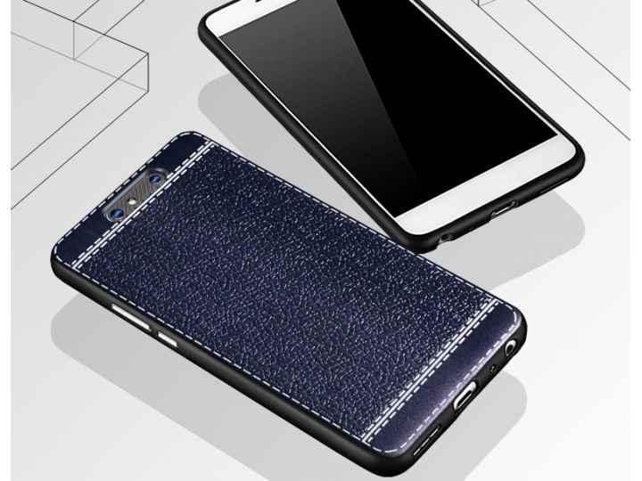 Премиальная элитная крышка-накладка на zte blade v8 (bv0800) синяя из качественного силикона с дизайном под ко..