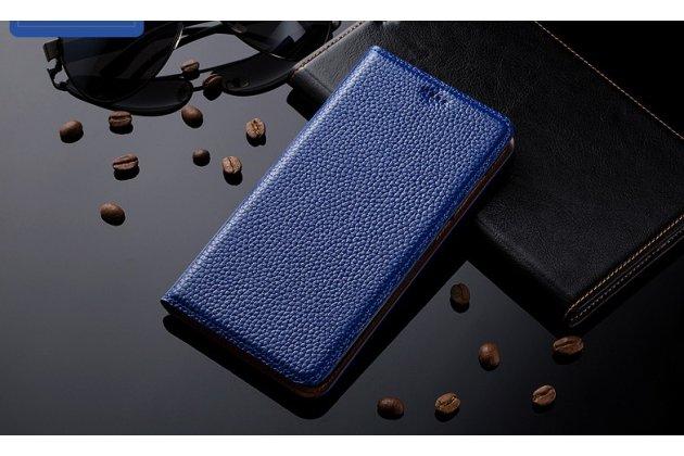 Премиальный чехол-книжка из качественной импортной кожи с мульти-подставкой и визитницей для zte blade v8 (bv0800) синий
