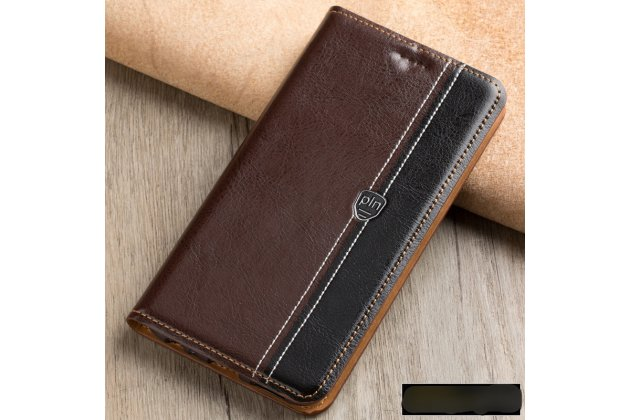 Премиальный чехол-книжка из качественной импортной кожи с мульти-подставкой и визитницей для zte blade v8 (bv0800) коричнево-черный