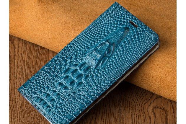 Роскошный эксклюзивный чехол с объёмным 3d изображением кожи крокодила синий для zte blade v8 (bv0800)  только в нашем магазине. количество ограничено